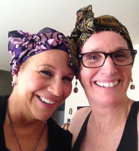 Mary's dear friend, Terri, on the left, and Mary, on the right, with matching breast cancer solidarity scarves.